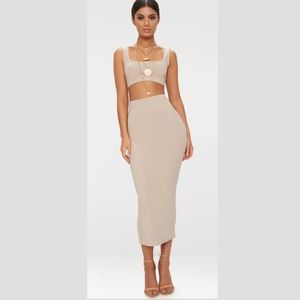 NWT Pretty Little Thing Slinky 2 Piece Outfit, Tan